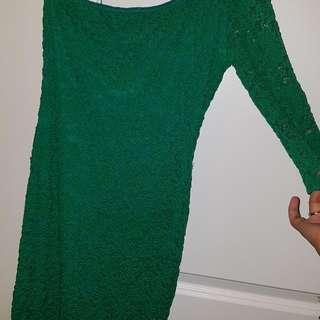 One Arm Green Dress