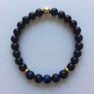 Men's Stretch Bracelet - Jasper/Blue Tiger Eye/Gold Accent