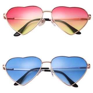 Coloured Cute Festival Heart Shape Sunglasses