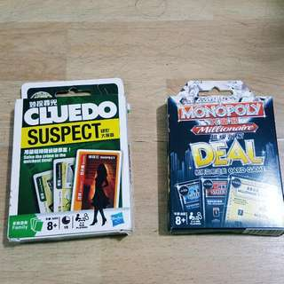 Cluedo And Monopoly Millionaire's Edition Cards