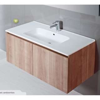 WAL-PMCL080E84N Sanitana COOL wall-hung cabinet basin set with over flow