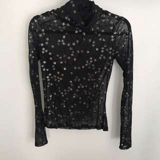 Sheer Glitter Star Top