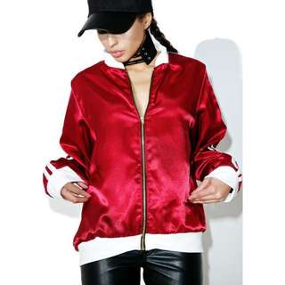 Omighty Maroon Satin Silk Kitten Bomber Jacket Size Small