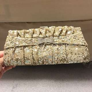 GOLD SEQUIN PURSE CLUTCH