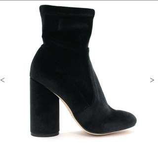 Betts Black Velvet Ankle Sock Boot