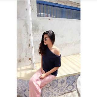 One Shoulder Top Navy From @.dastisystore
