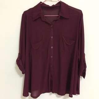 🚚 韓版高質感酒紅雪紡襯衫