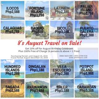 8's August Travel on Sale!