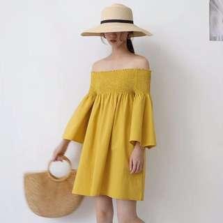 Shoulder Off Dress / Cotton