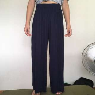 Micro Pleated Wide Leg Pants