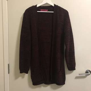 Long Burgundy Knit Cardigan