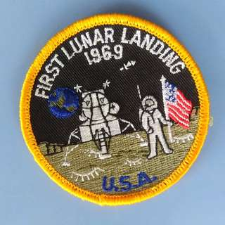 A Piece of History, 1969 Apollo Moon Landing, First Lunar Landing 1969 Badge, USA, Embroidered Patch Sew-on or Iron-on