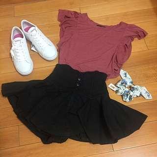 日本正品 Snidel 黑色洗舊感高腰褲裙