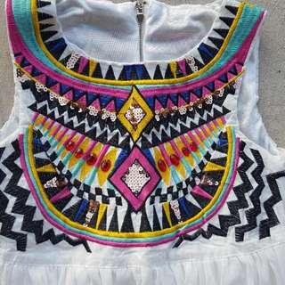 Beaded & Embroidered Full-length Boho Dress