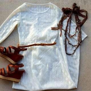 White lace full-length dress