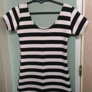 Black And White Stripes Dress With Slits