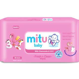 NEW Mitu Baby  Baby Wipes (50/Pack) Soft Care - Fresh & Clean Wipes Safe & Hygiene For Babies Multi Usage & Water Subtitute For Cleaning - Chamomile & Vit E - Chrysanthemum & Vit E  XTRA LONG & THICK HYPOALLERGENIC TESTED NON-ALCOHOL NATURAL FRAGRANCE