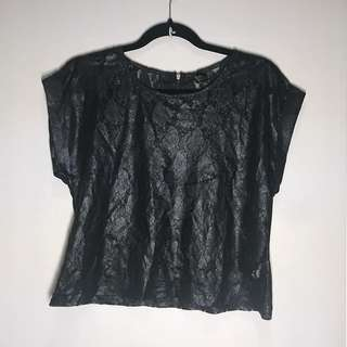 TOPSHOP Lace Cropped Top