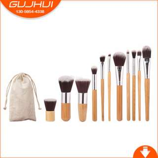 11-Piece Bamboo Make Up Brush Set Tool with Pouch