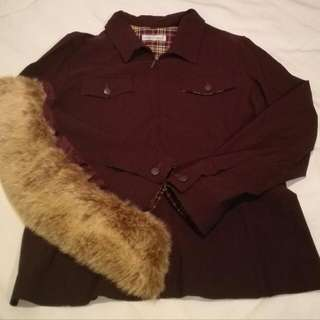 Anthea Crawford Size 14 Fited Fur Jacket - Attachable Fur