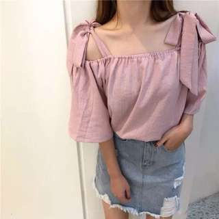 Little Cute Ribbons Top / Cotton