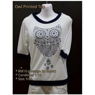 Owl Printed Top