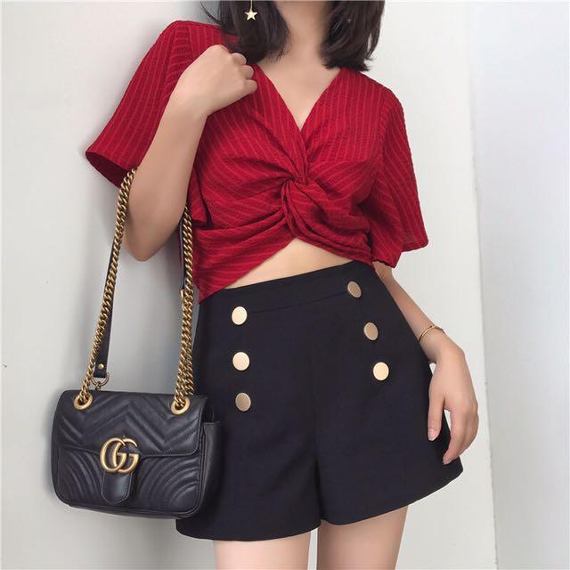 2017女裝夏季新款前交叉設計t恤V領條紋復古chic寬松上衣
