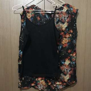 BNY Floral Sheer Top With Tank