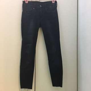 H&M HM 牛仔褲 深藍 黑色 藍色 緊身 合身 長褲