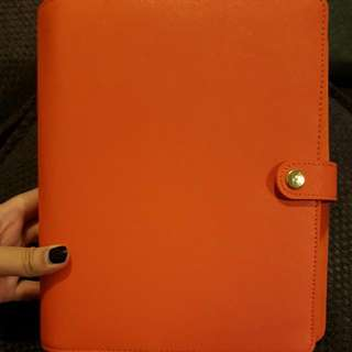 🍑*FREE POST* Kikki.K bright orange leather diary LARGE