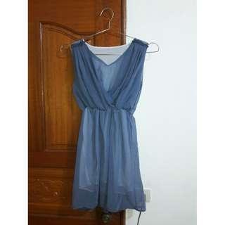 肩花邊青色V領洋裝