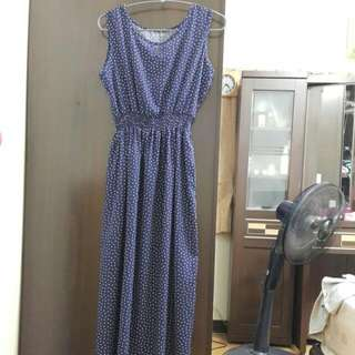 深藍長裙洋裝