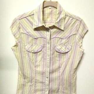 NET  黃紫淺粉條紋薄襯衫