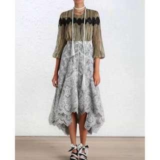 ZIMMERMANN Empire Embroidered Skirt - Size 0