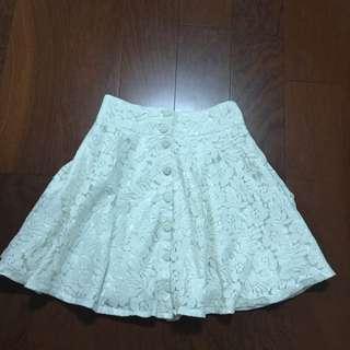 蕾絲排扣短裙