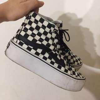VANS 限量格子厚底鞋