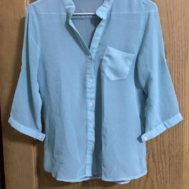 藍綠色雪紡襯衫