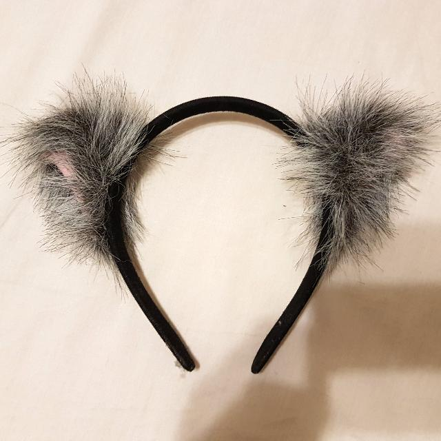 灰色貓兒耳朵髮箍