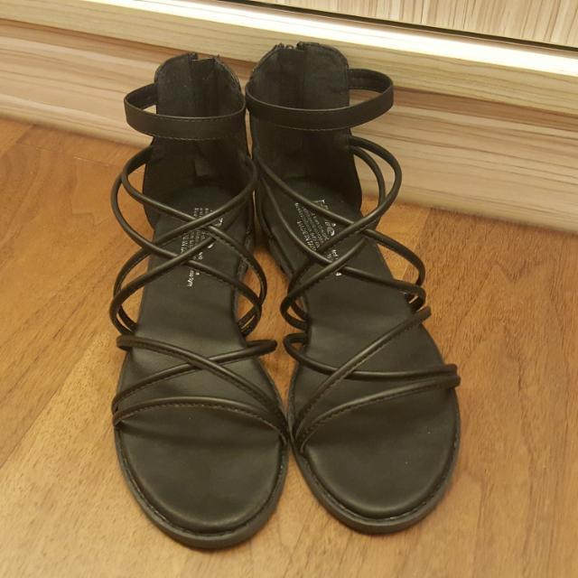 全新 綁帶造型羅馬涼鞋.涼鞋.羅馬鞋 黑色 24