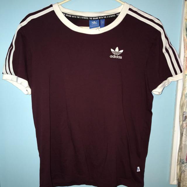 Adidas Maroon 3 Stripe T-shirt