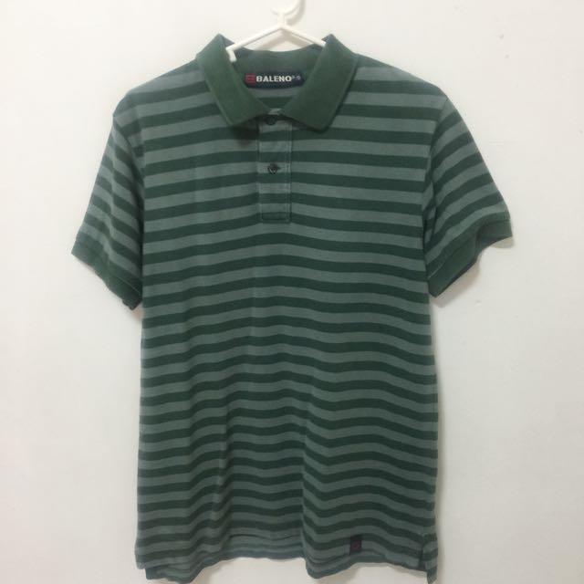 Baleno Polo Shirt Green Stripes (Size S)