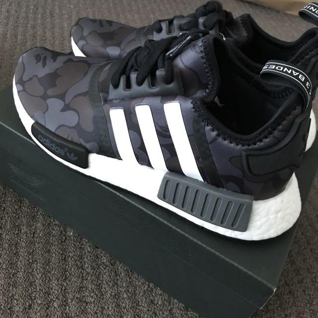 21940d36b2400 BAPE X Adidas NMD R1 Black, Women's Fashion, Shoes on Carousell