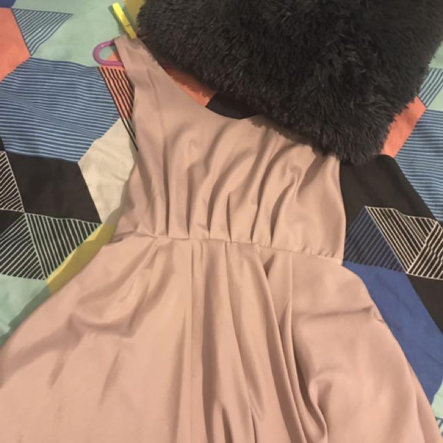 Beautiful Nude Silk Dress Worn Once