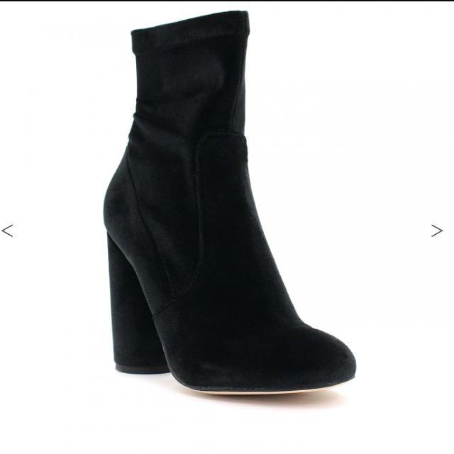 Betts Black Velvet Ankle Sock Boot