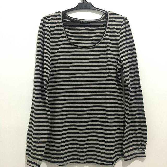 Black & Gray Stripes Long Sleeves