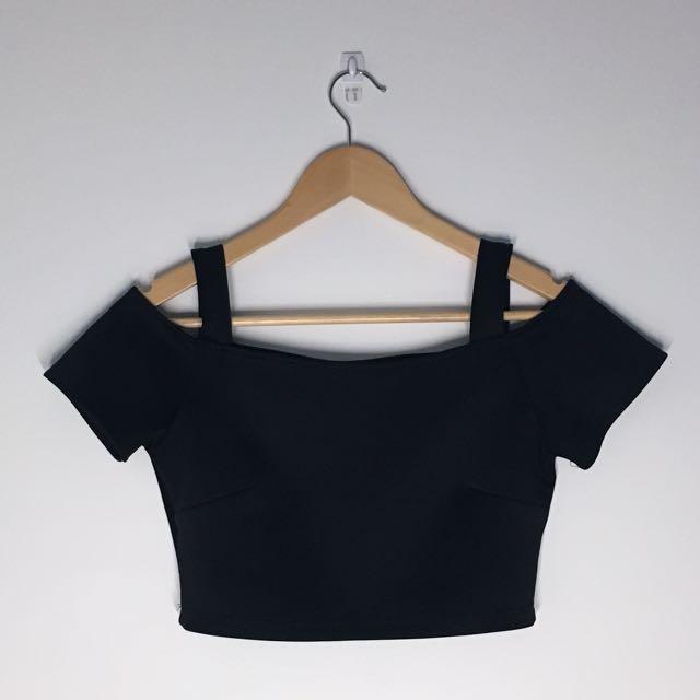 Black Off-the-Shoulder Crop Top
