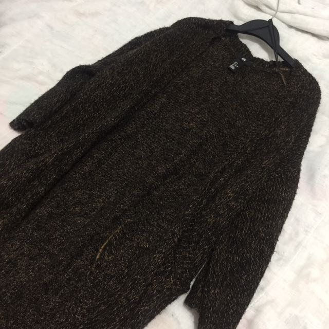 Black Speckled Chunky Knit Cardigan