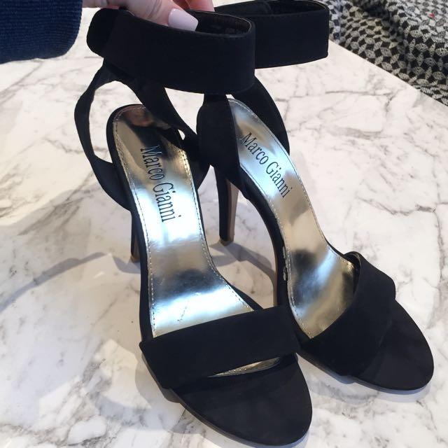 Black Suede Strap Heels