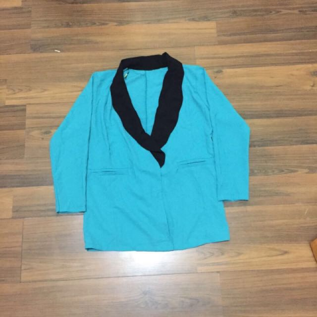 blazer outer biru, blazer kemeja