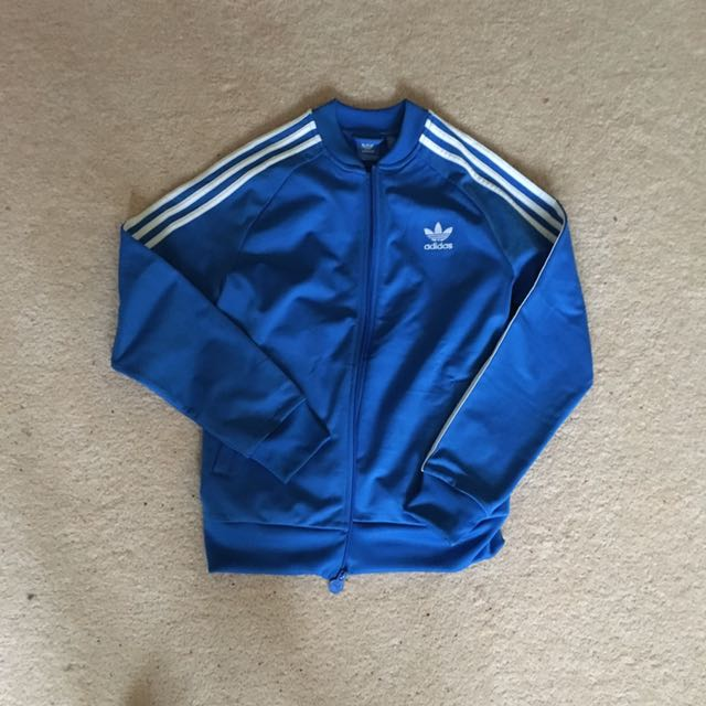 Blue Adidas Jacket Size L Kids Small Woman